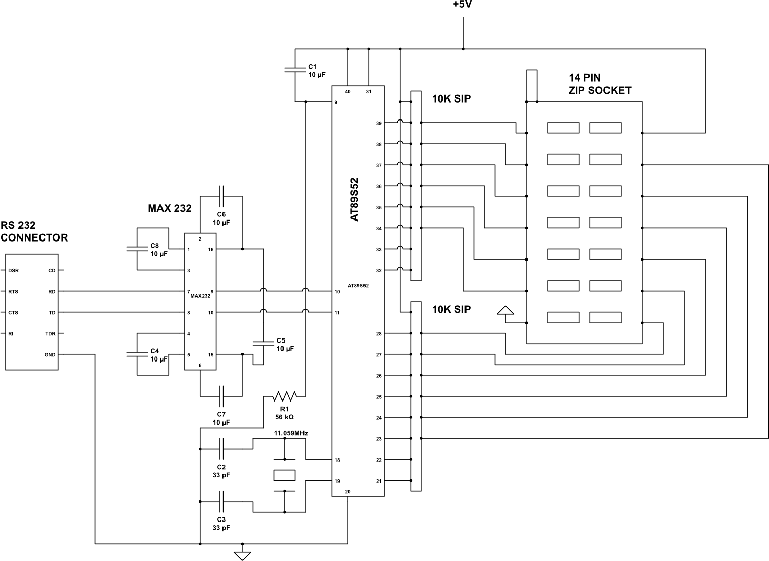 pc based digital ic tester - schematic | at89s52 ic tester | Digital