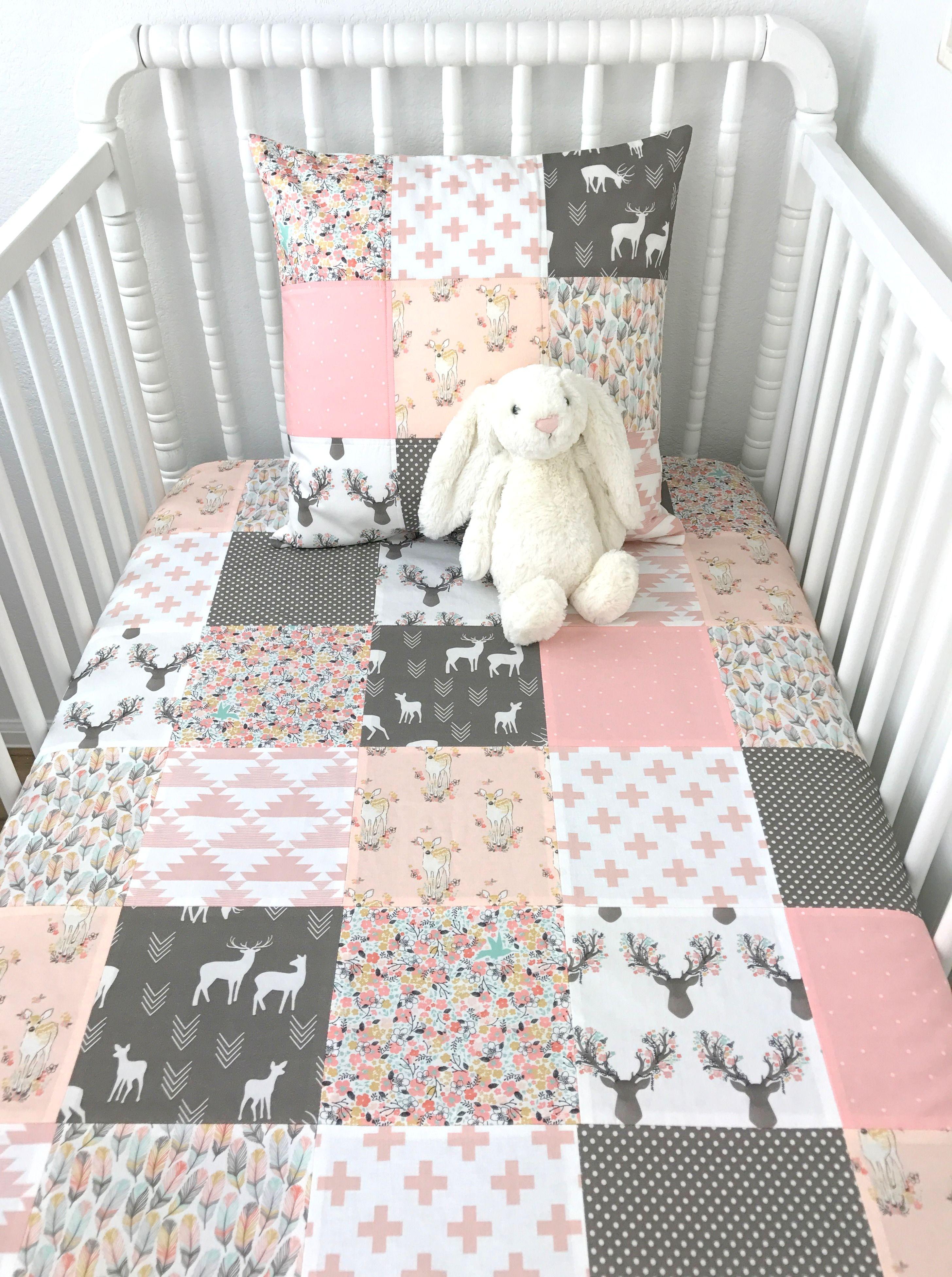 Woodland Deer Girl Baby Blanket Baby Girl Nursery Decor