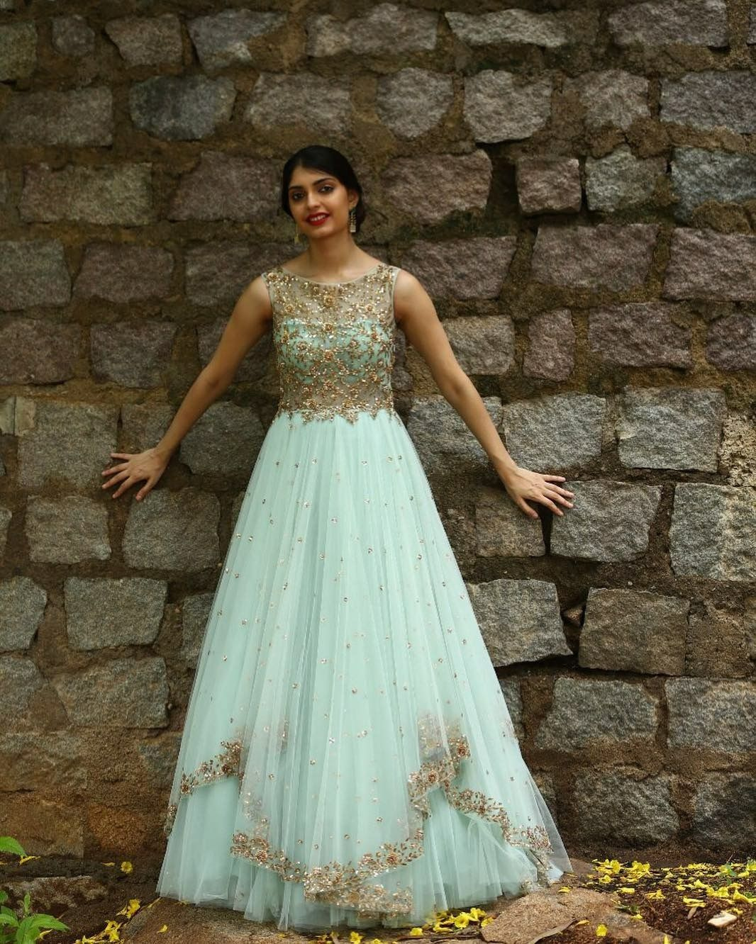 f54509c544 Designer Gown of light blue shade with heavy handwork on it. To customised  this garment log on to www.prasang.in