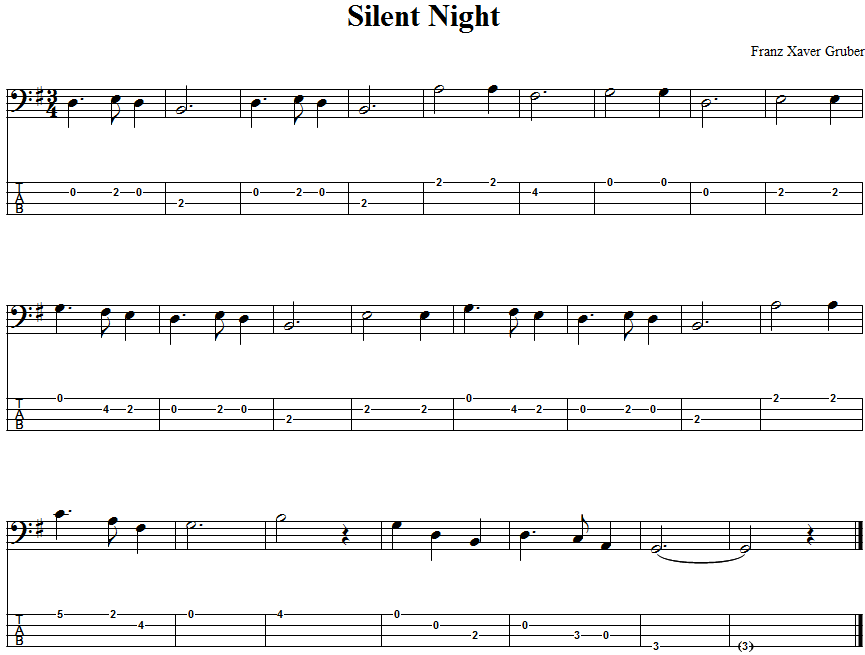Silent Night Bass Guitar Tab