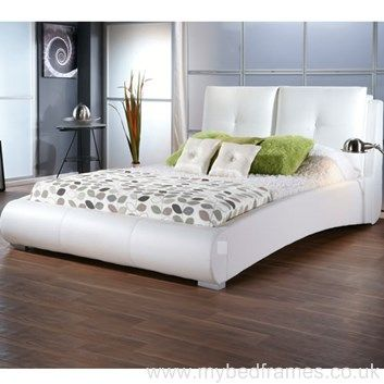 Sophia Modern Low Leather Bed Frame Leather Bed Frame White