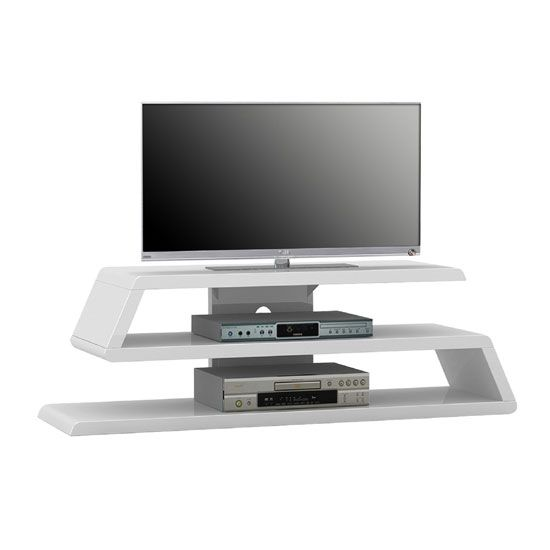 Louisiana White High Gloss Finish Plasma Tv Stand With Open Compartments Features