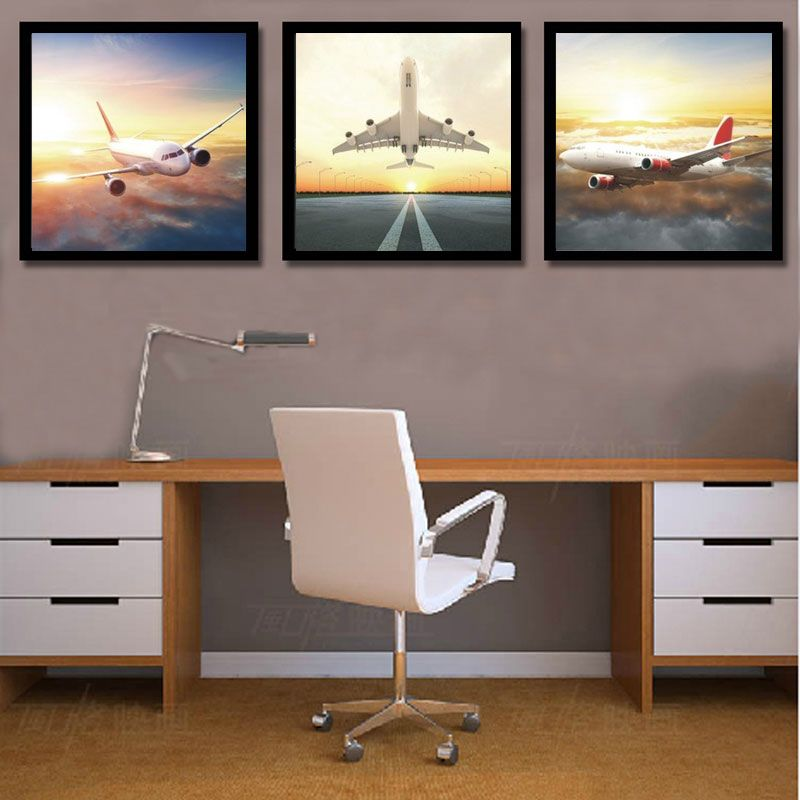 3 Piece Canvas Painting Sunset Airplane Wall Pictures For Living Room Home Decor Canvas Prints Company Rooms Home Decor Living Room Pictures Office Wall Decor