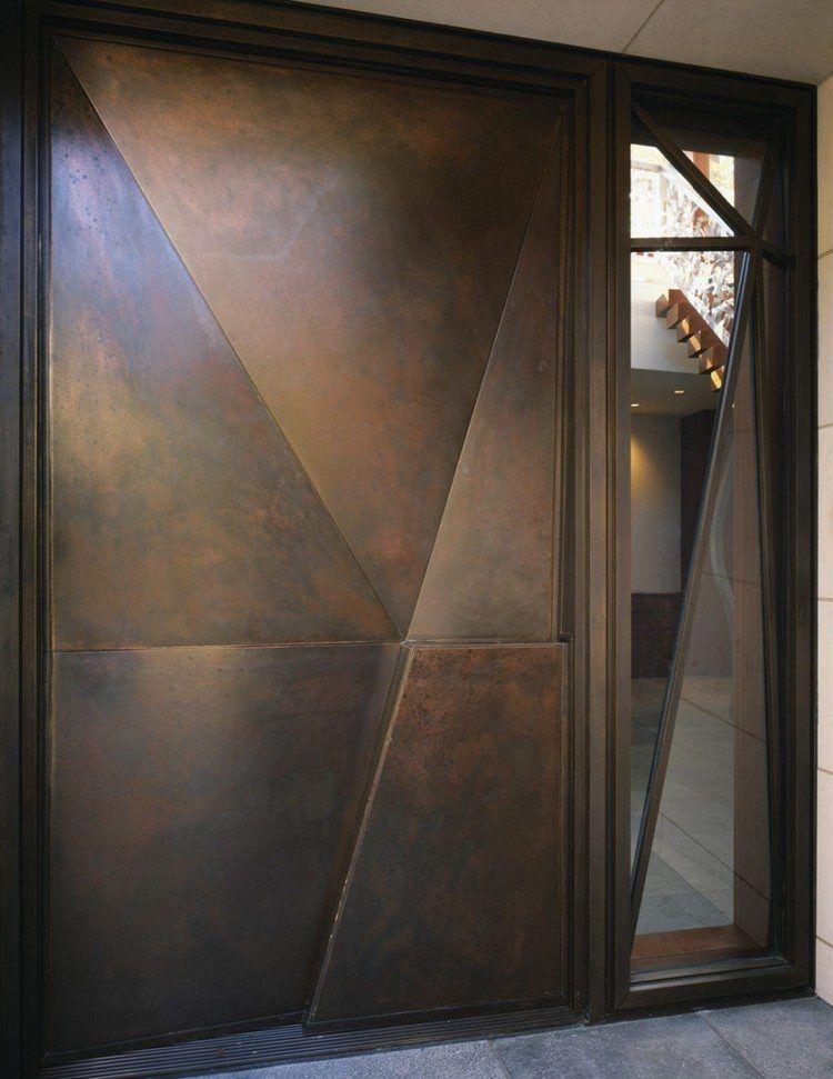 Porte d 39 entr e en acier effet patine vieillie et for Porte entree metal