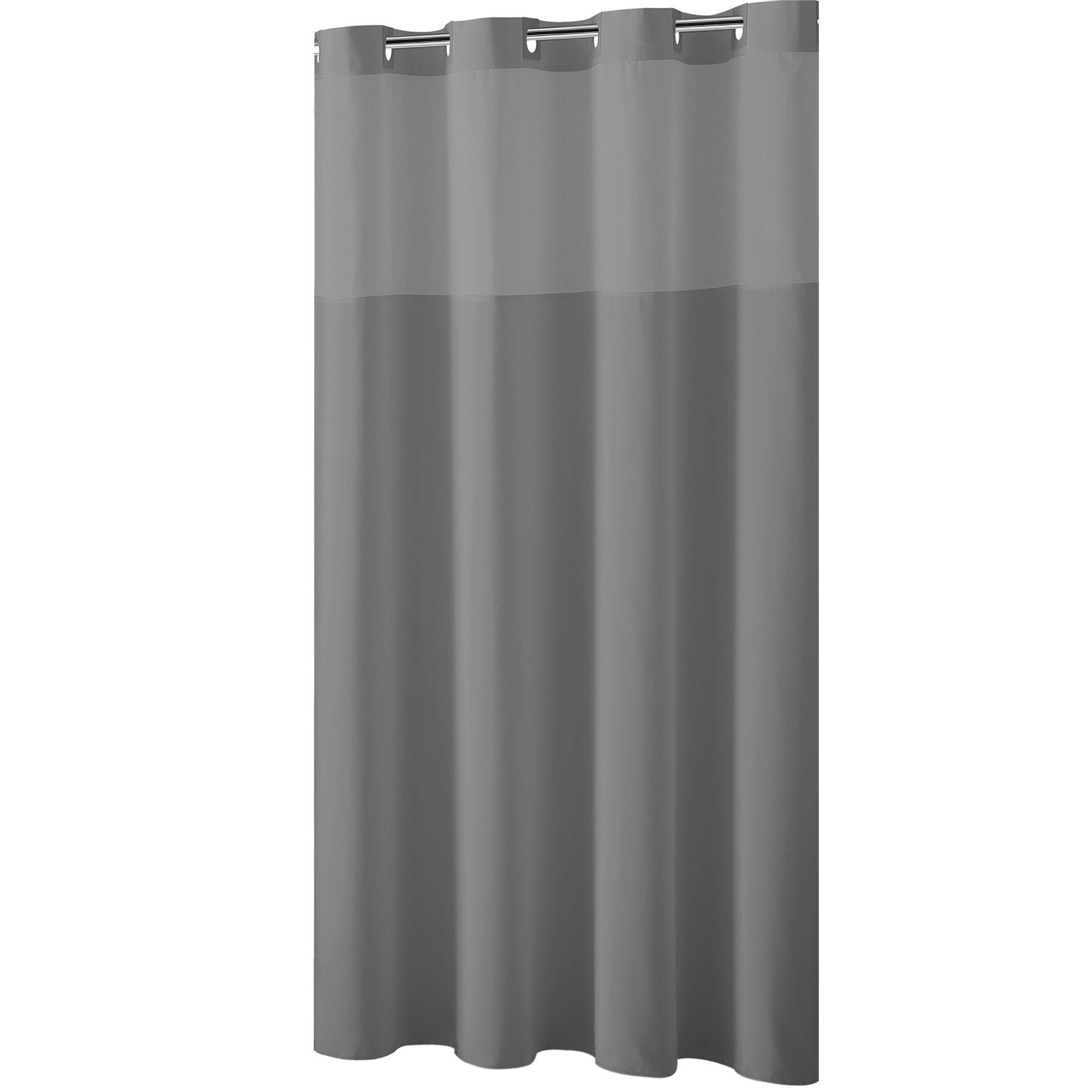 Hookless Shower Curtain Plain Weave Frost Grey Grey Gray In