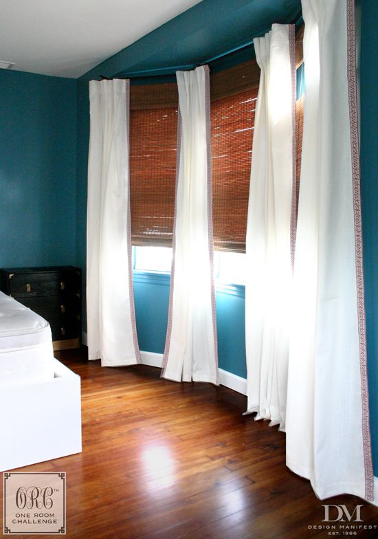 Bamboo Roman Shades With Ikea Ritva Curtains Bedroom Bay Window