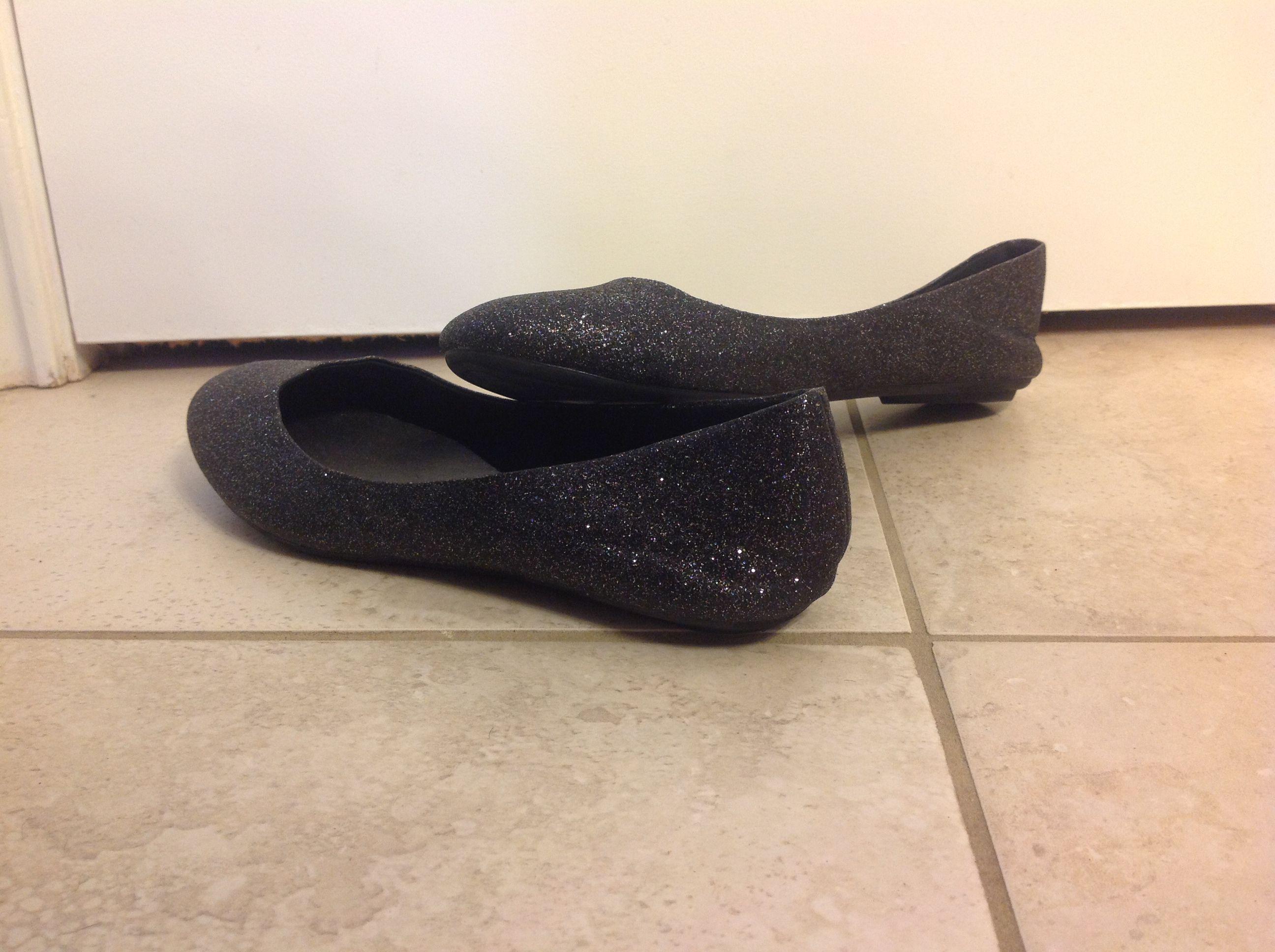 black glitter slippers