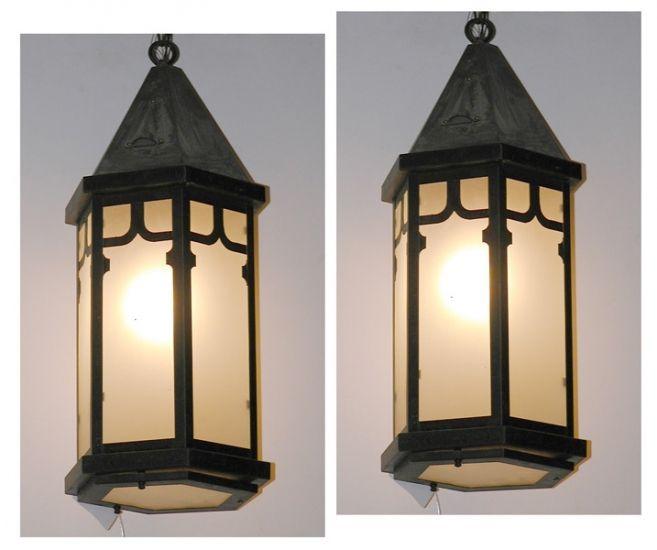 Tudor Light   PAIR OF TUDOR STYLE COPPER AND GLASS HEXAGONAL LIGHT FIXTURES.  LI