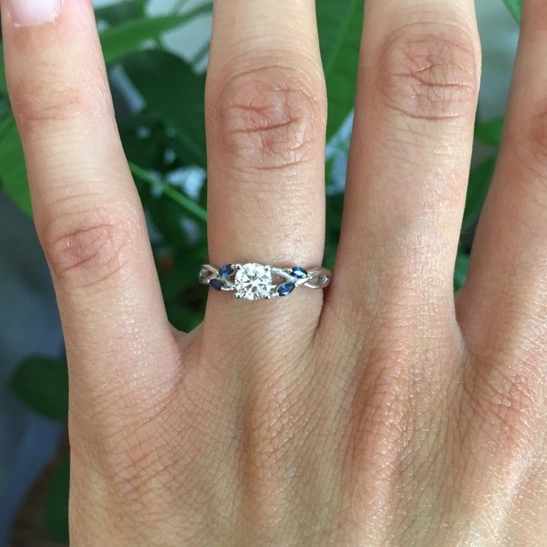 18k White Gold Willow Ring With Sapphire Accents Rings Pinterest