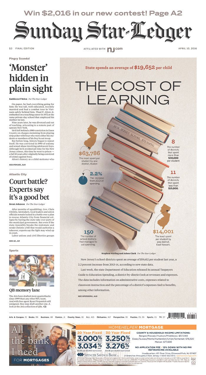The Star Ledger 4 10 16 Via Newseum Newspaper Design Layout Newspaper Design Graphic Design News