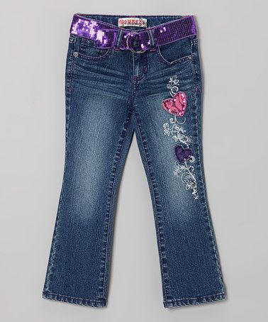 Another great find on #zulily! Dark Stone Wash Lace & Sequin Heart Bootcut Jeans #zulilyfinds
