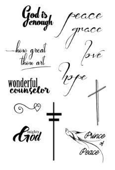 Assorted Christian words, and 2 crosses with dove. Faith