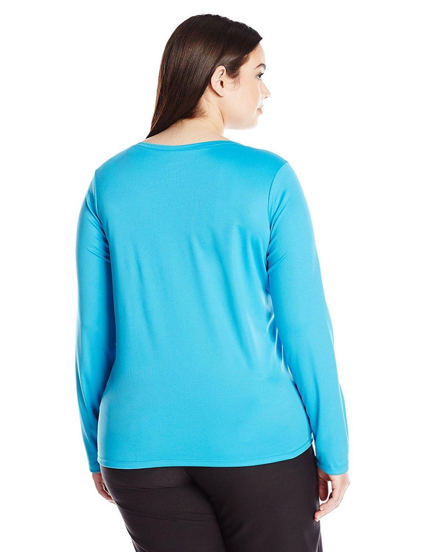 43c4480232a Women s Plus Size Solid UPF 50+ Long Sleeve Swim Shirt Rashguard ...