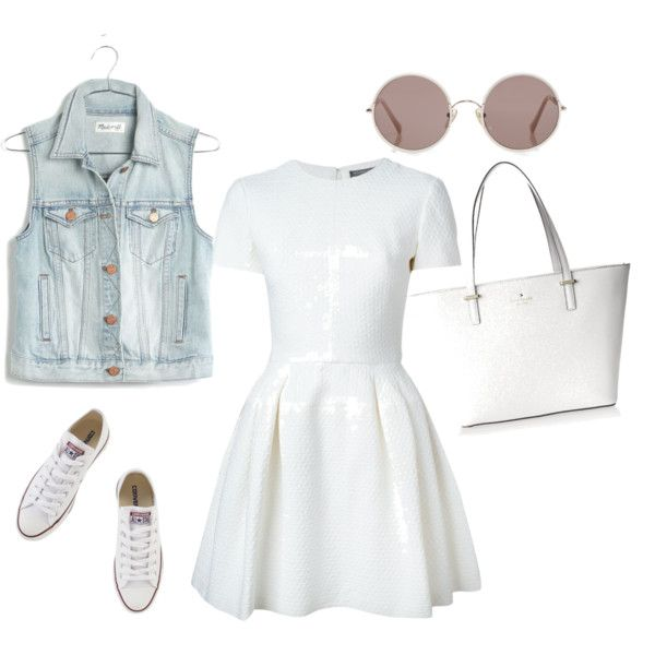 casual white by anais-bouzidi on Polyvore featuring polyvore fashion style Alexander McQueen Madewell Converse Kate Spade Sunday Somewhere