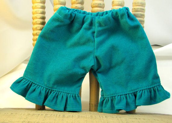 Deep Teal Ruffle Corduroys for Waldorf by sistersdollclothes, $7.00