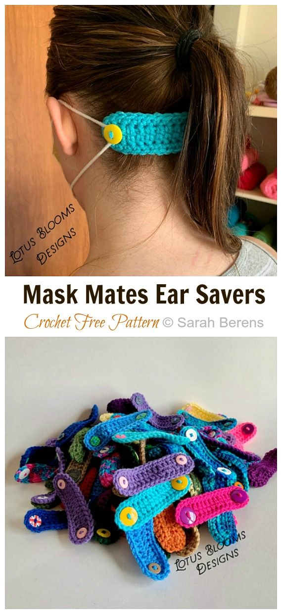 16 Face Mask Straps Ear Saver Crochet Free Patterns • DIY How To