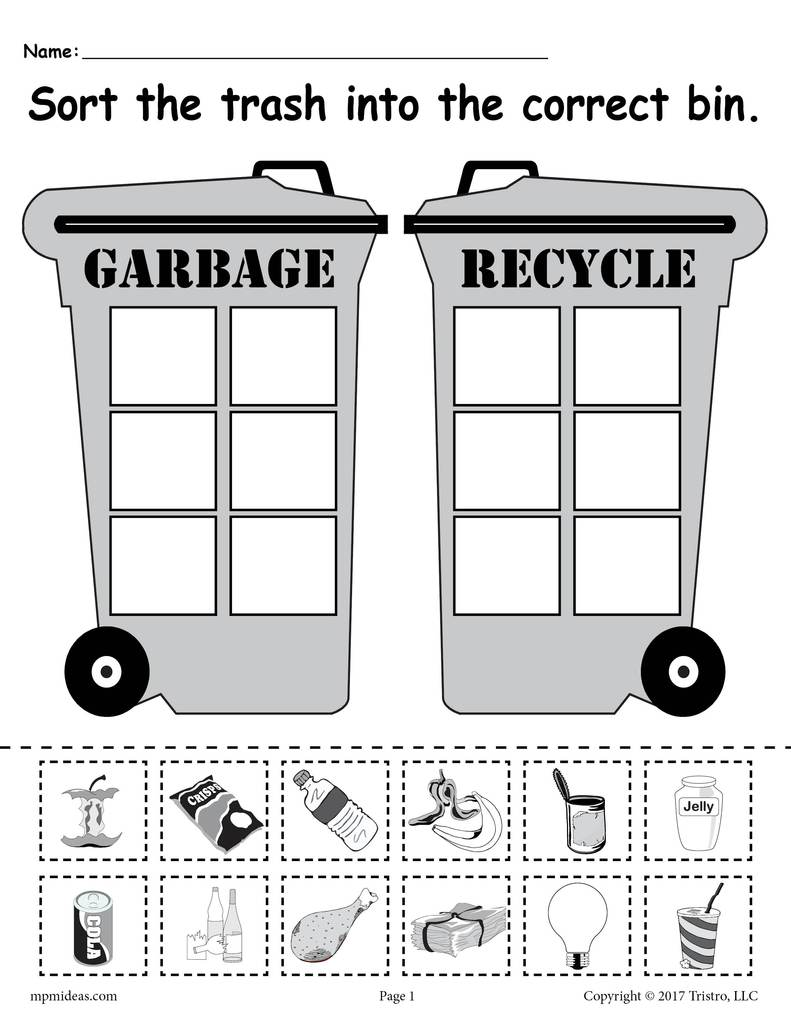 Sorting Trash Earth Day Recycling Worksheets 4 Printable Versions Earth Day Worksheets Recycling Activities Earth Day Crafts [ 1024 x 791 Pixel ]