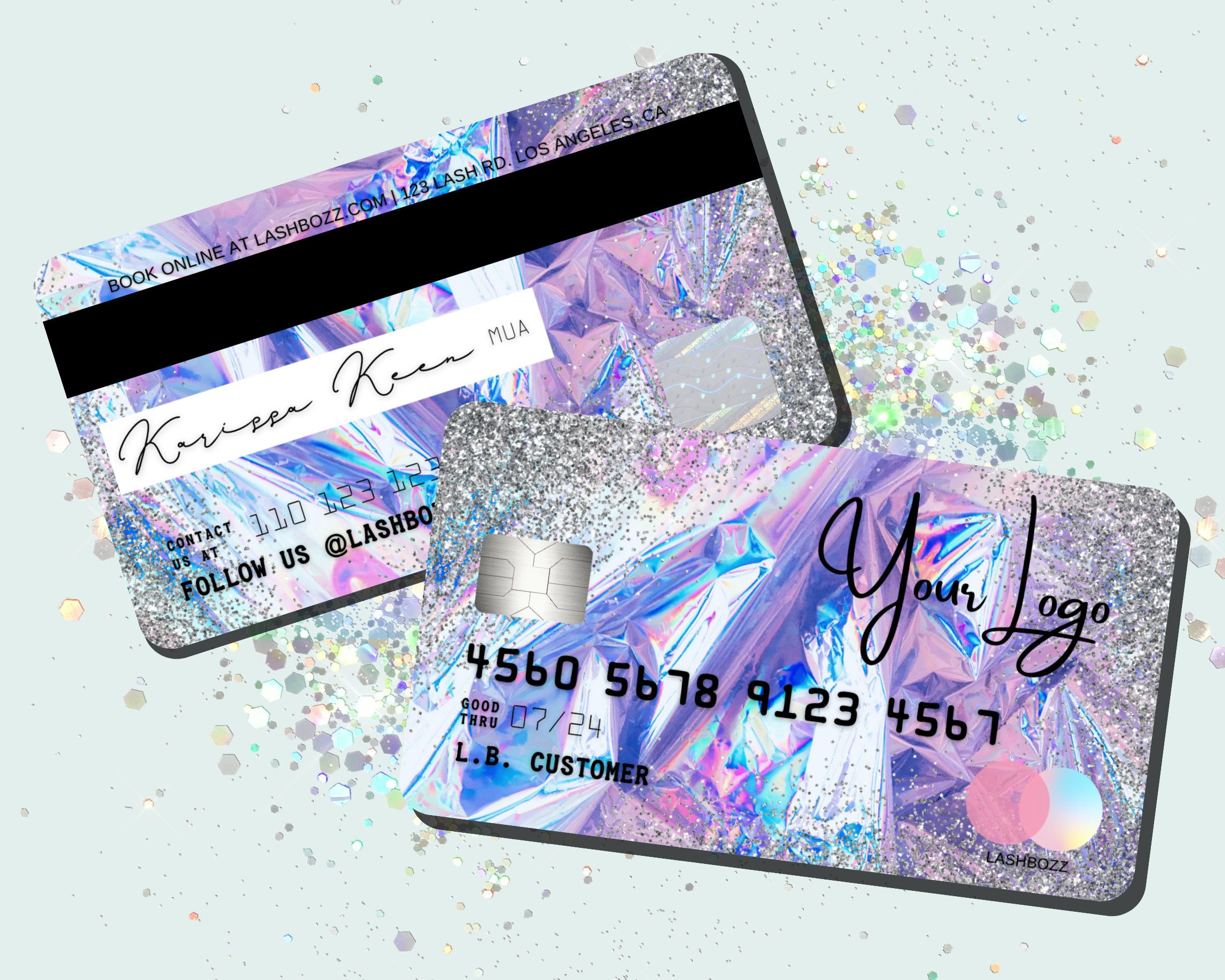 Diy Holographic Credit Card Business Cards Silver Glitter Etsy In 2021 Plastic Business Cards Beauty Salon Business Cards Neon Business Cards