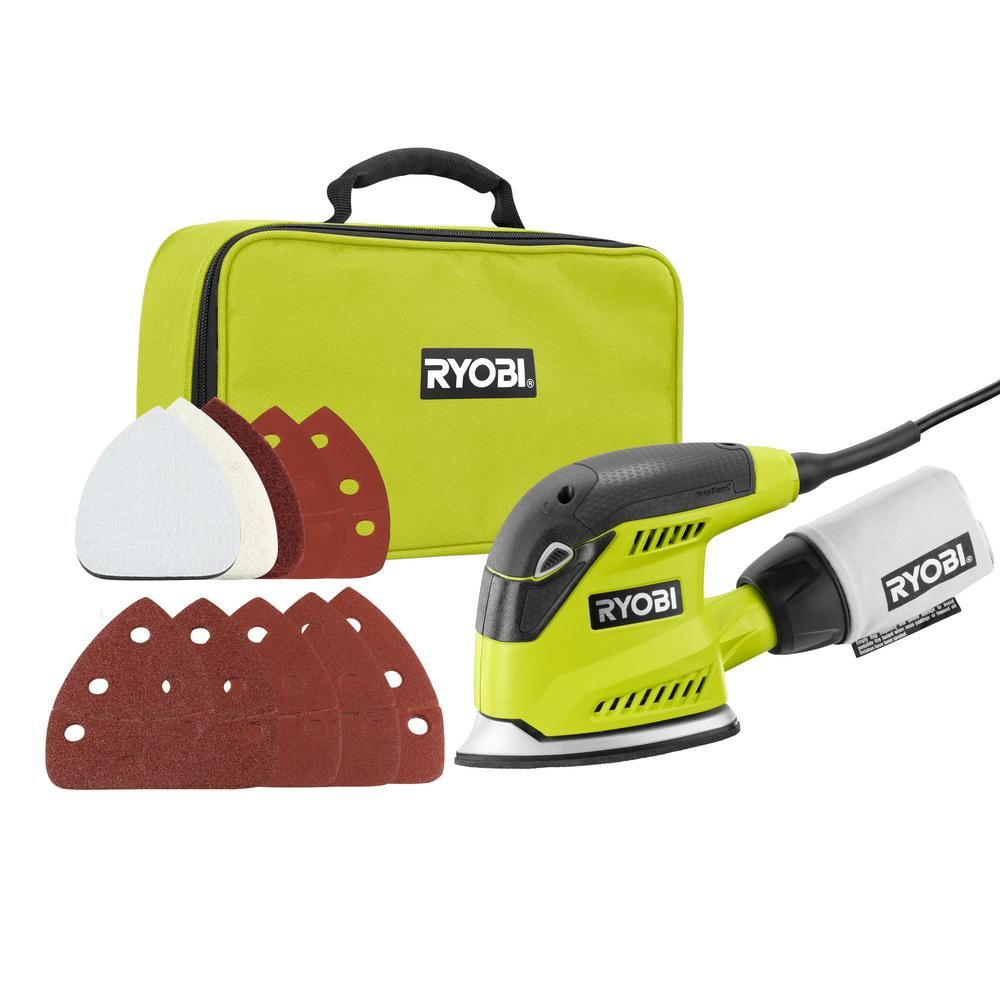 Ryobi 1 2 Amp Corded 5 5 In Corner Cat Sander With Dust Bag Sample Sandpaper And Storage Case Cfs1503gk The Home In 2020 Ryobi Faux Fireplace Diy Clean Work Area
