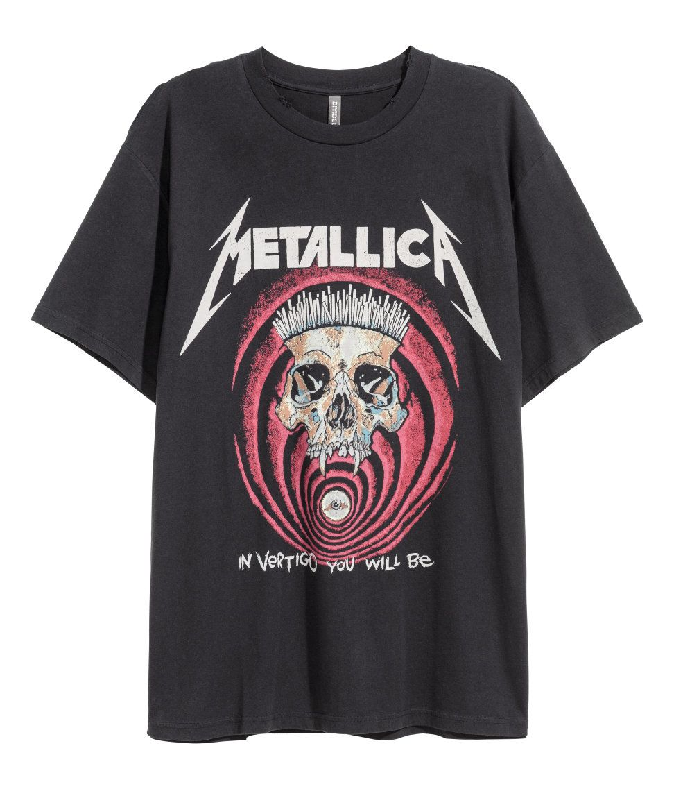 1881045802c1 T-shirt with Printed Design | H&M MAN DIVIDED | T shirt, Metal t ...