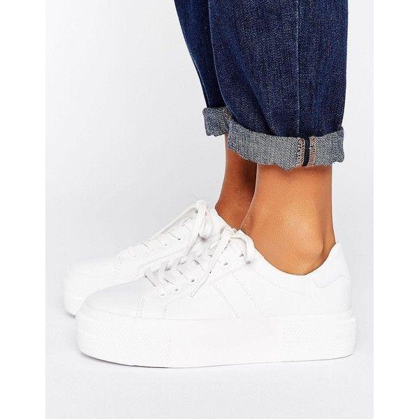 Pull Bear Leather Look Platform Sneaker 40 Liked On Polyvore Featuring Shoes Sneakers White Wh Sepatu Putih Gaya Model Pakaian Korea Gaya Model Pakaian