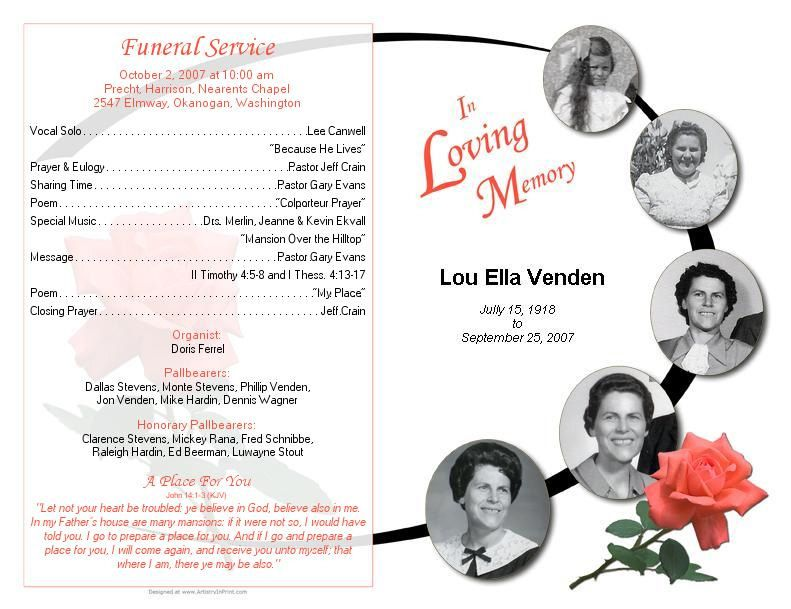 funeral bulletin samples - Google Search Grandpa Pinterest - free memorial service program