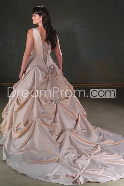 Gorgeous A-Line/Princess  V-Neck Halter Cathedral Ruched Color Plus Size Bridal Gowns