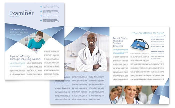 Nursing School Hospital Newsletter Design Template by StockLayouts - free newsletter templates for microsoft word 2007
