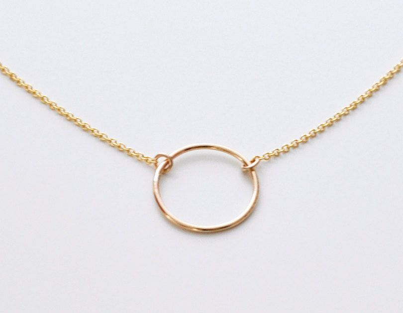 1ac9138e34031a Open circle necklace - gold circle pendant necklace - small ring necklace -  delicate gold necklace - round gold charm - Halo gld