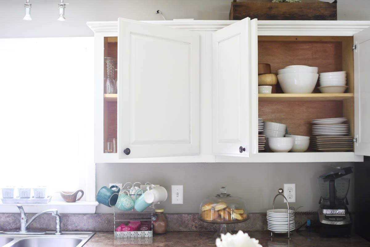How I Painted My Kitchen Cabinets Without Removing The Doors Kitchen Cabinets And Countertops Painting Kitchen Cabinets Cabinets And Countertops