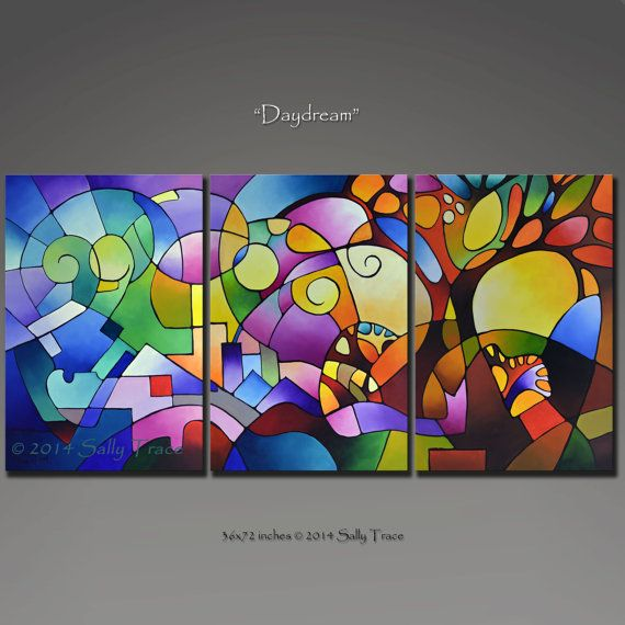 Original Abstract Geometric Landscape Painting Acrylic Triptych Art Large Wall Daydream Made To Order