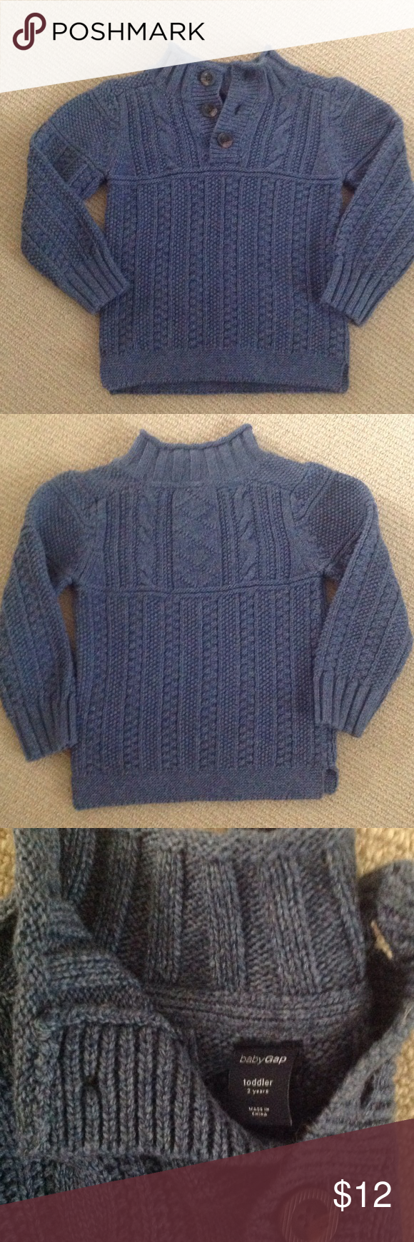 51b7cafe2 Baby Gap Boys Blue Cable Knit Sweater Size 2T