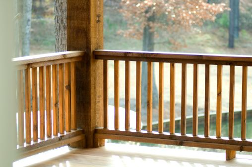 A simple wooden hand rail stained dark exterior wooden - Exterior wood hand railings for stairs ...