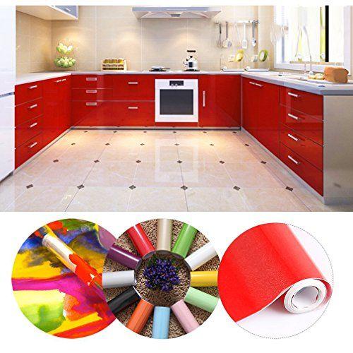 KINLO 5061M Papier Peint Auto-Adhésif Rouge pour Armoire de Cuisine