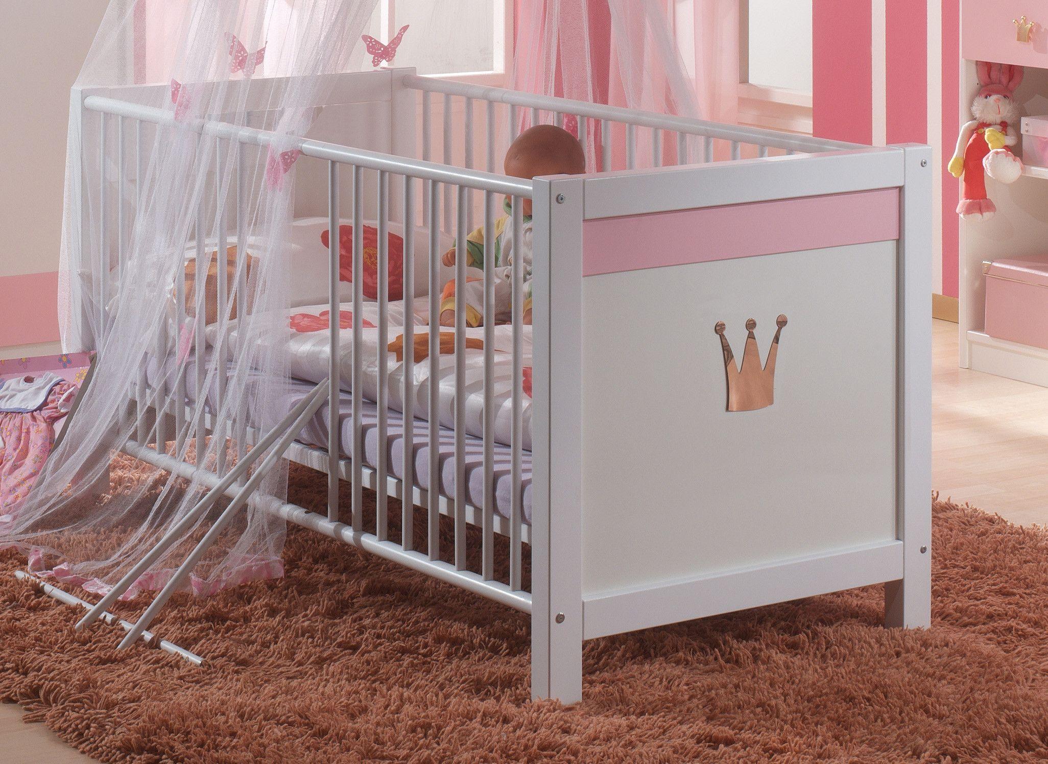 Babybett 70 x 140 cm alpinweiss rosa woody 132 00758 holz modern