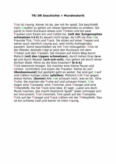 Geschichte zu tr/dr und Mundmotorik - Artikulation ...