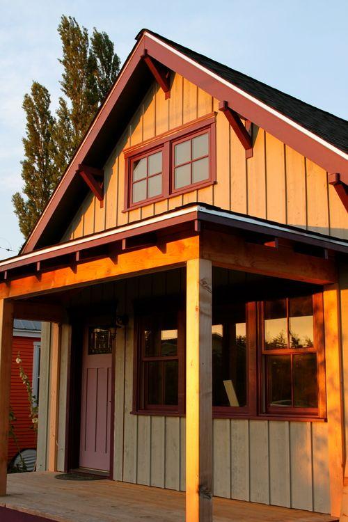 Completed Board Batten Siding Raw Cedar Posts Awaiting Detail Trim Work Exterior Paint Colors For House House Exterior Exterior House Colors