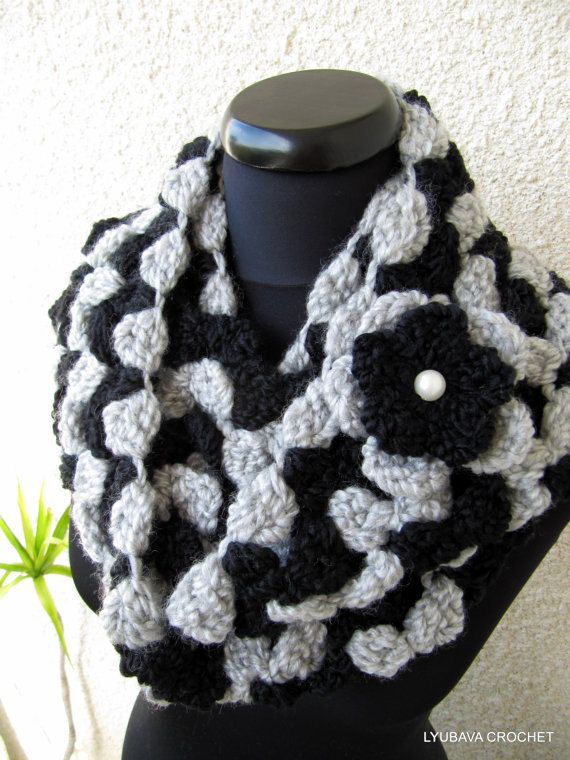 Crochet Scarf PATTERN, Infinity Scarf DIY, Circle Scarf, Black Gray ...
