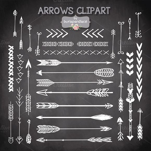 VECTOR Hand Drawn clipart arrows | Creative, Clip art and Middle