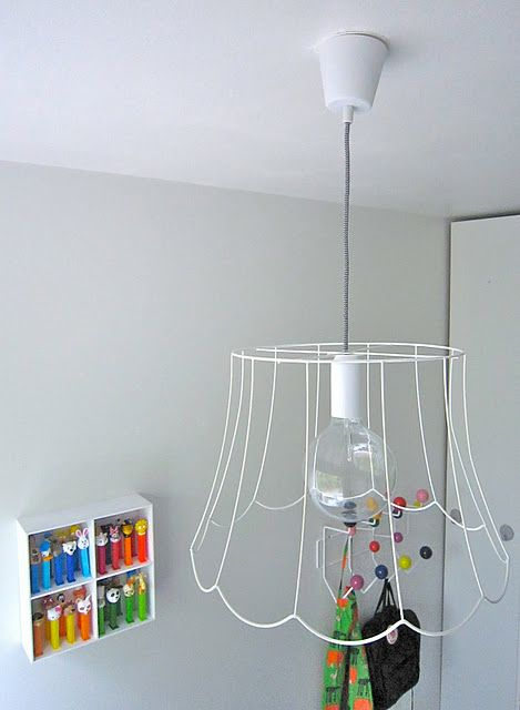 Diy.Take cloth off of old lamp shade, use wire. Love it! | Busy ...