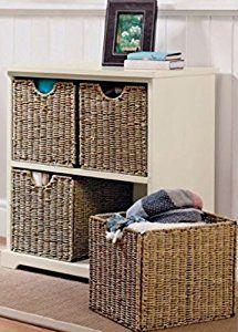 Home Source Storage Chest Cream 4 Seagrass Basket Hallway Storage