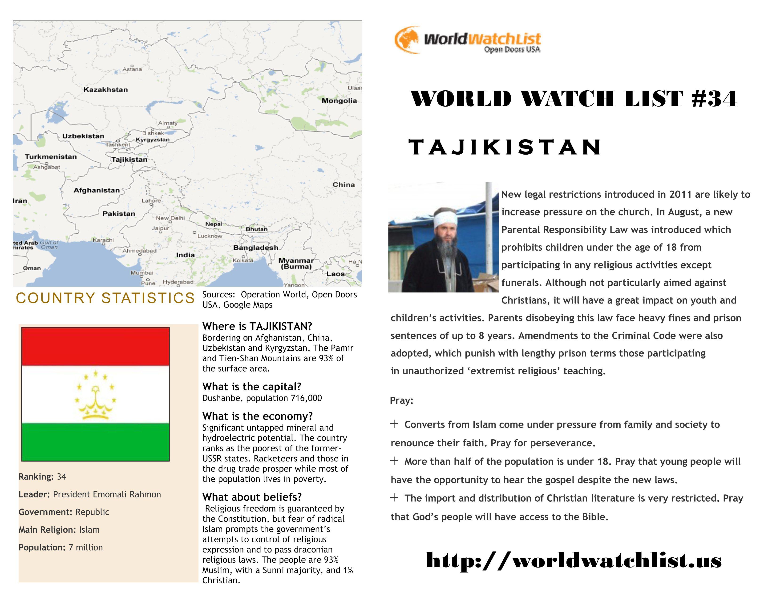 Tajikistan 34 on open doors world watch list ranking countries tajikistan 34 on open doors world watch list ranking countries where persecution of publicscrutiny Gallery