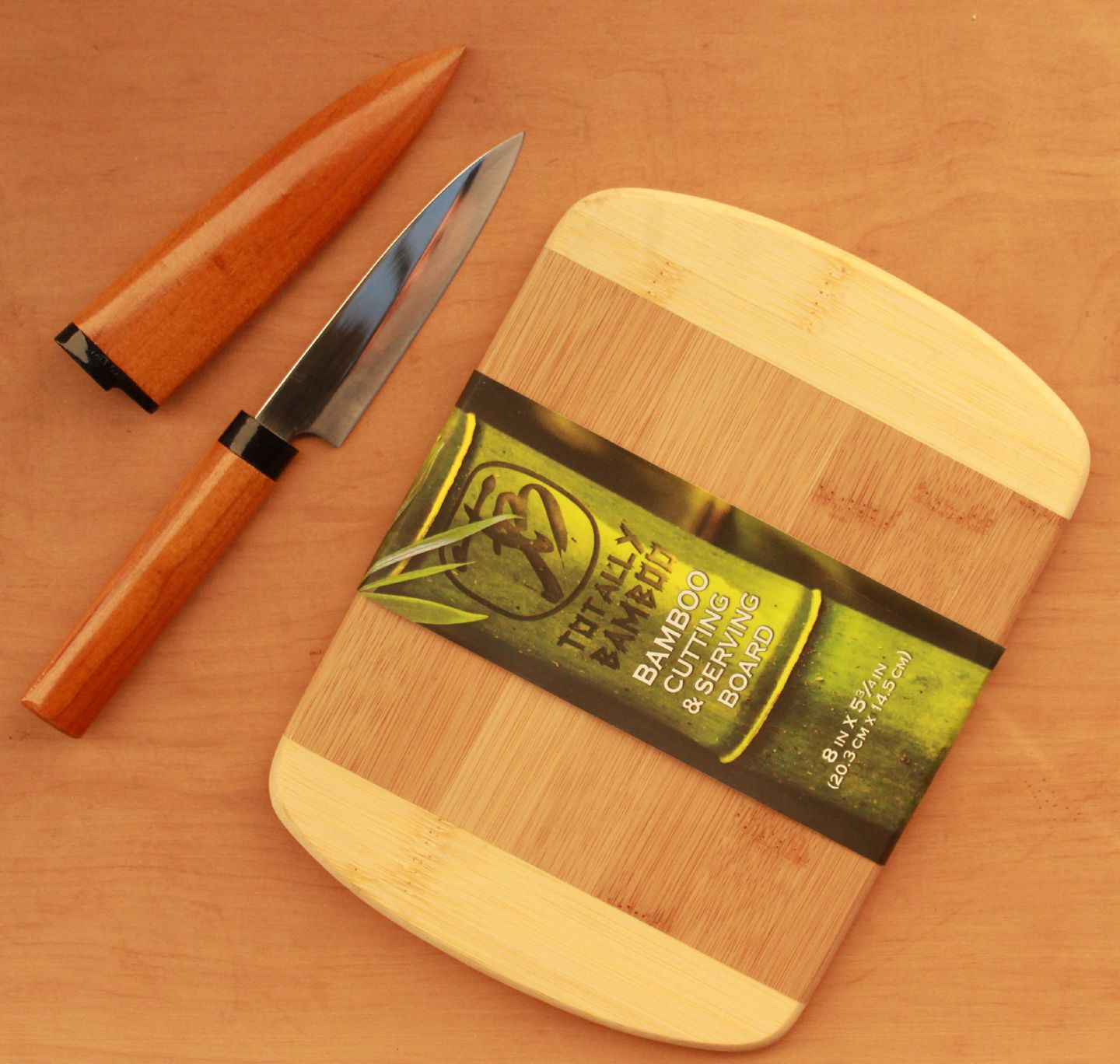 """Sun Craft Fruit Knife Pointed Tip with 8"""" Bamboo Bar Board"""