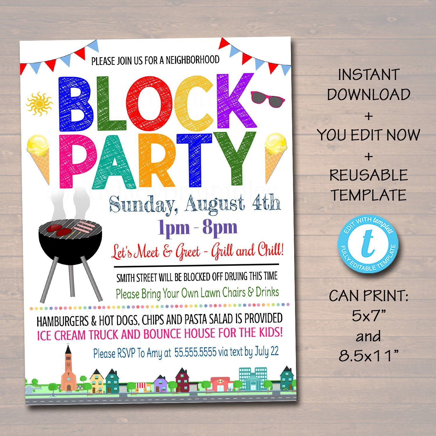 Neighborhood Block Party Invite Printable Invitation Bbq Picnic Summer Party Announcement Card Flyer In 2021 Party Invite Template Neighborhood Block Party Block Party Invitations