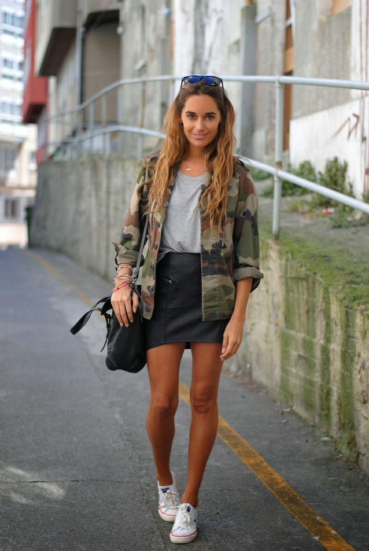 Leren rok outfit