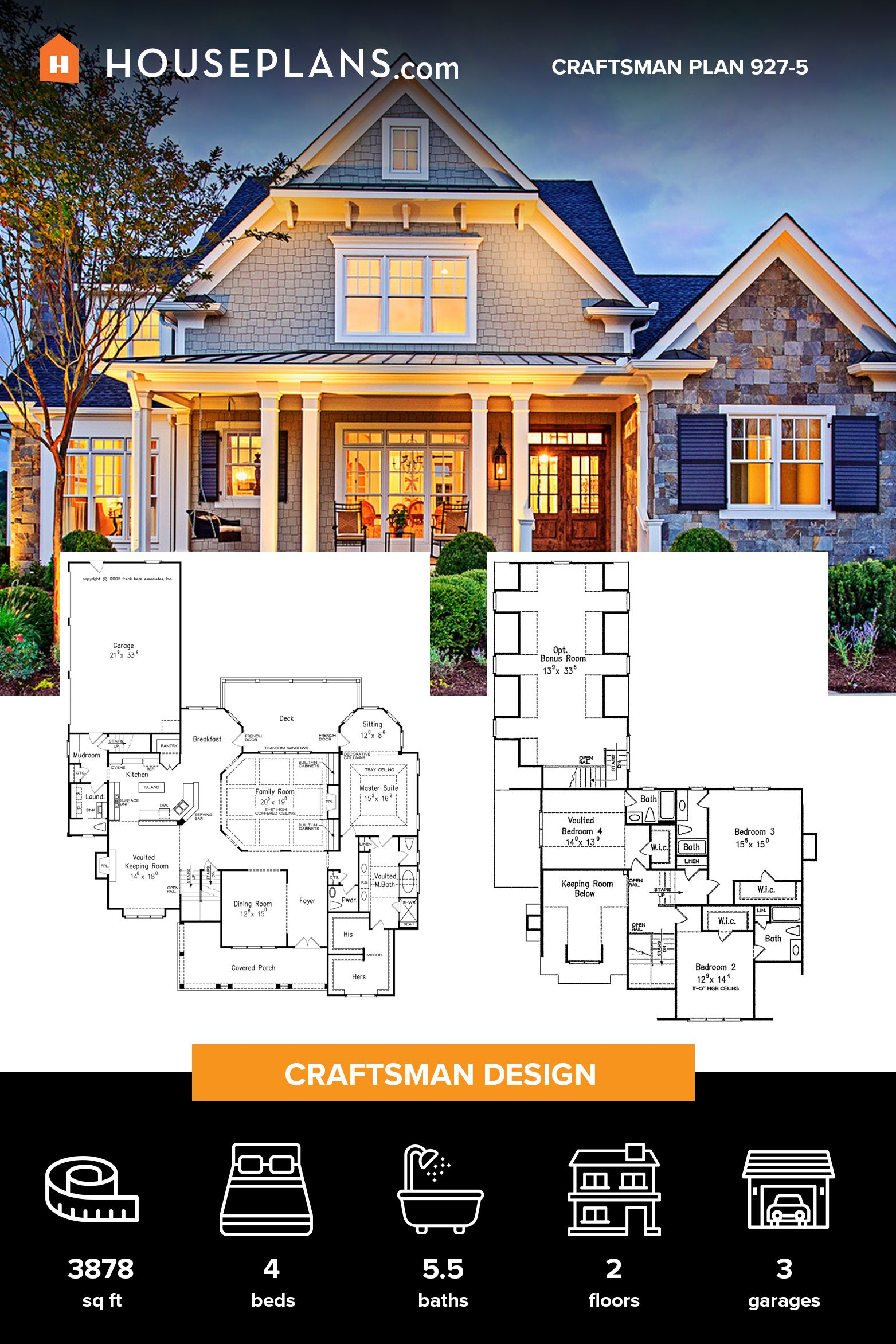 Craftsman Style House Plan 4 Beds 5 5 Baths 3878 Sq Ft Plan 927 5 Craftsman Style House Plans Craftsman House Plans Architectural Design House Plans