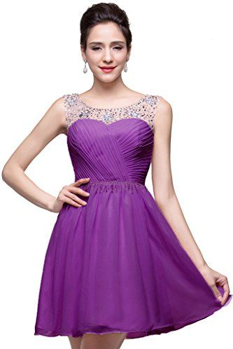 Babyonline Sexy Short Womens Cocktail Dresses Purple Chiffon Formal Party Gown >>> To view further for this item, visit the image link. (This is an affiliate link and I receive a commission for the sales)