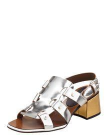 Marni Mid-Heel Mirrored Leather Sandal