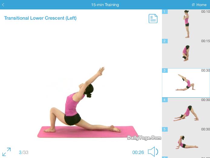 O app Daily Yoga oferece vários exercícios (Foto: Reprodução/Lívia Dâmaso)