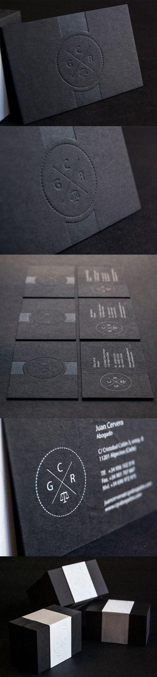Slick And Professional Letterpress Minimalist Black Business Card Design